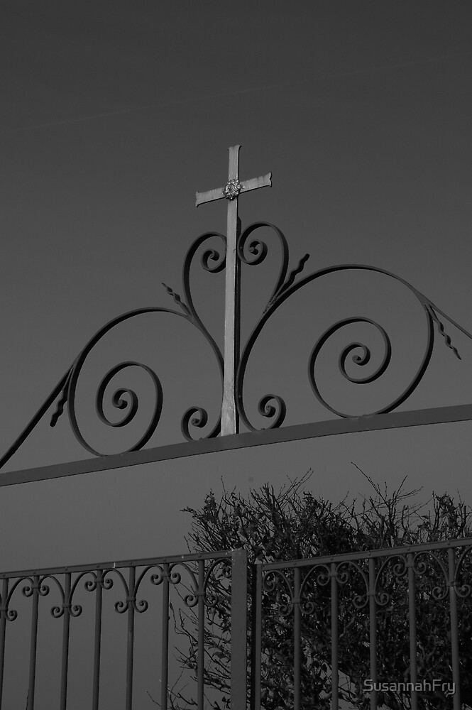 Crucifix above cemetery gates by SusannahFry