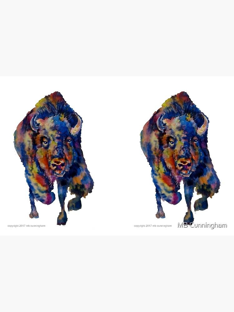 Charging Buffalo Watercolor Print by mbrhapsody