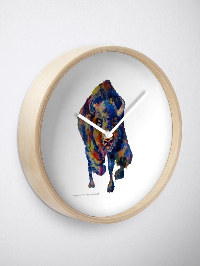 Alternate view of Charging Buffalo Watercolor Print Clock
