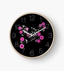 Pink Floral Explosion Clock
