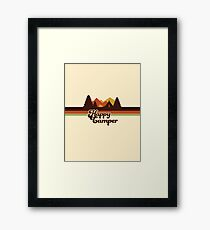 Happy Camper (Retro, 70s, Camping) Framed Print