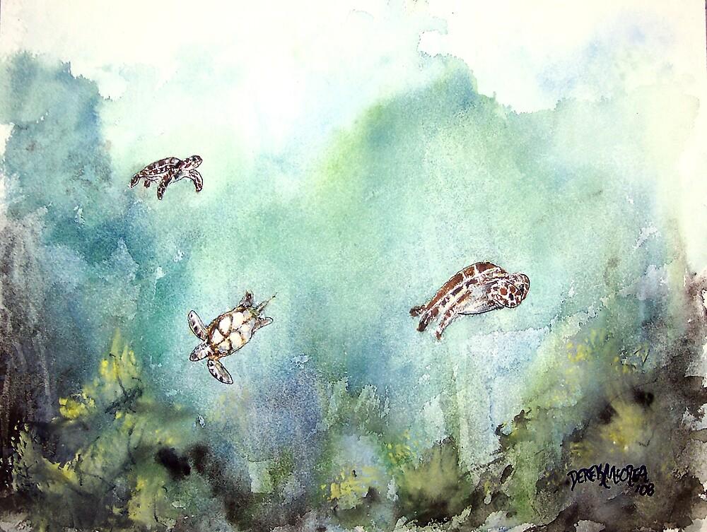 3 sea turtles by derekmccrea