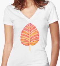 Elephant Ear Alocasia – Peach Palette Women's Fitted V-Neck T-Shirt