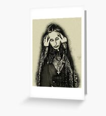 At midnight, the vampire influence shows on this young model Greeting Card