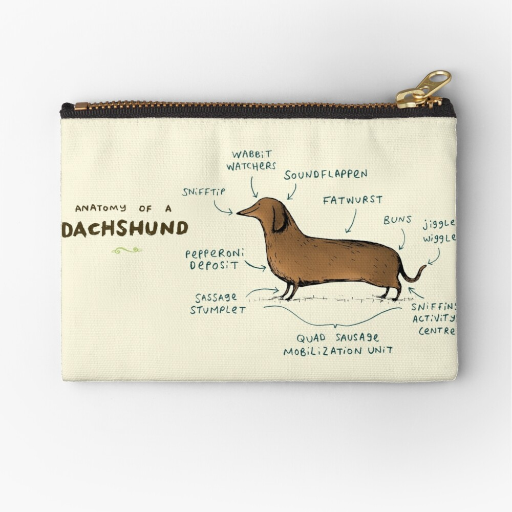 Anatomy of a Dachshund Zipper Pouch