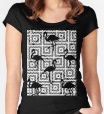 B&W Geometric Flamingos #redbubble #decor #buyart Women's Fitted Scoop T-Shirt