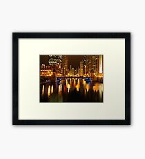 Chicago River at Night Framed Print