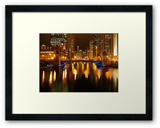 Chicago River at Night by gottschalkphoto