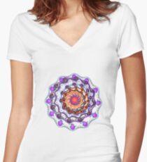 Fractal rose Women's Fitted V-Neck T-Shirt