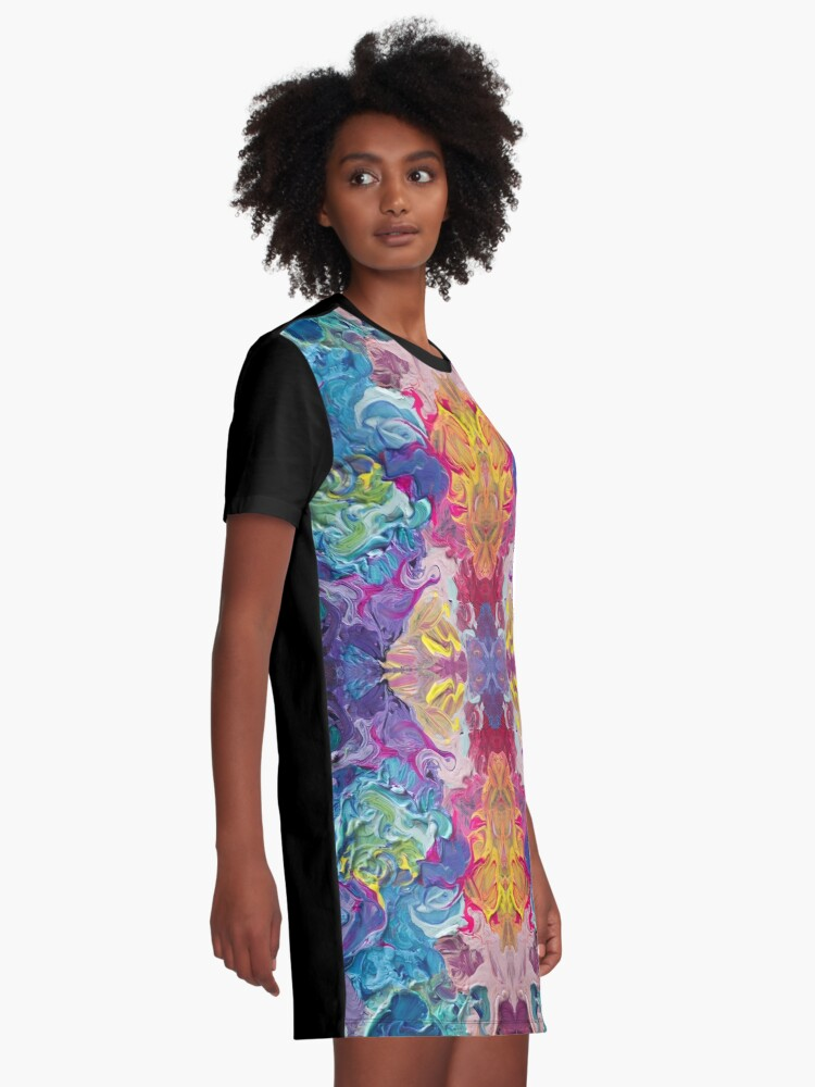 Alternate view of Rainbow Flow Abstraction Graphic T-Shirt Dress