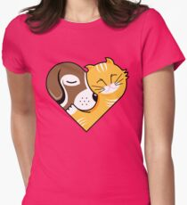 Pet Cuddle Heart Womens Fitted T-Shirt