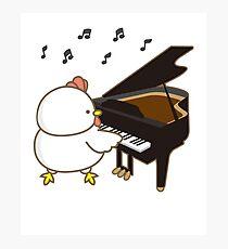 Funny Chicken Piano Emoji Cartoon Instrument Art Photographic Print