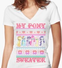 My Pony christmas sweater Women's Fitted V-Neck T-Shirt