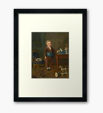 French School, 18th Century PORTRAIT OF A YOUNG BOY WITH HIS  Framed Print