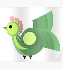 Green Hen, Vector Design Poster