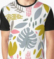 Beautiful tropical pattern with pink, gray and gold leaves. Graphic T-Shirt