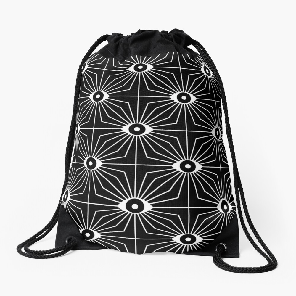Electric Eyes - Black and White Drawstring Bag