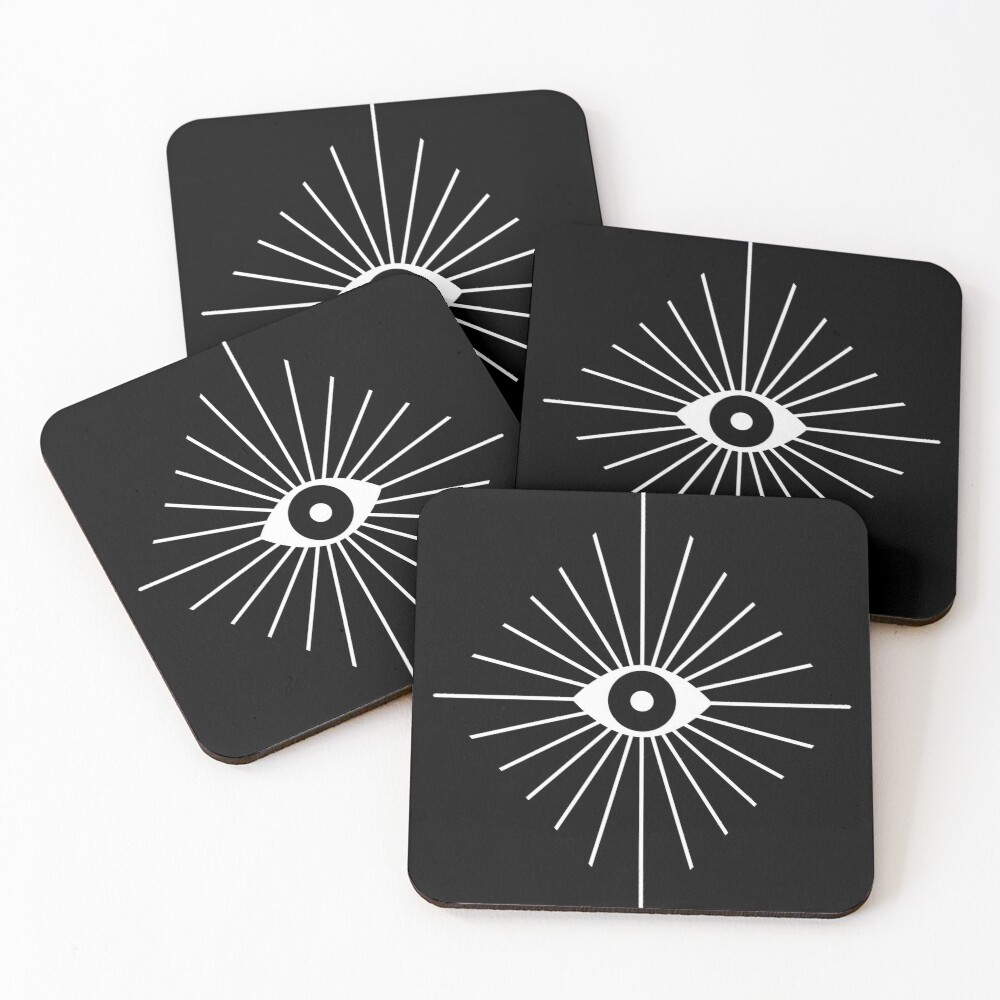 Electric Eyes - Black and White Coasters (Set of 4)
