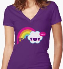 Wow Rainbow Women's Fitted V-Neck T-Shirt
