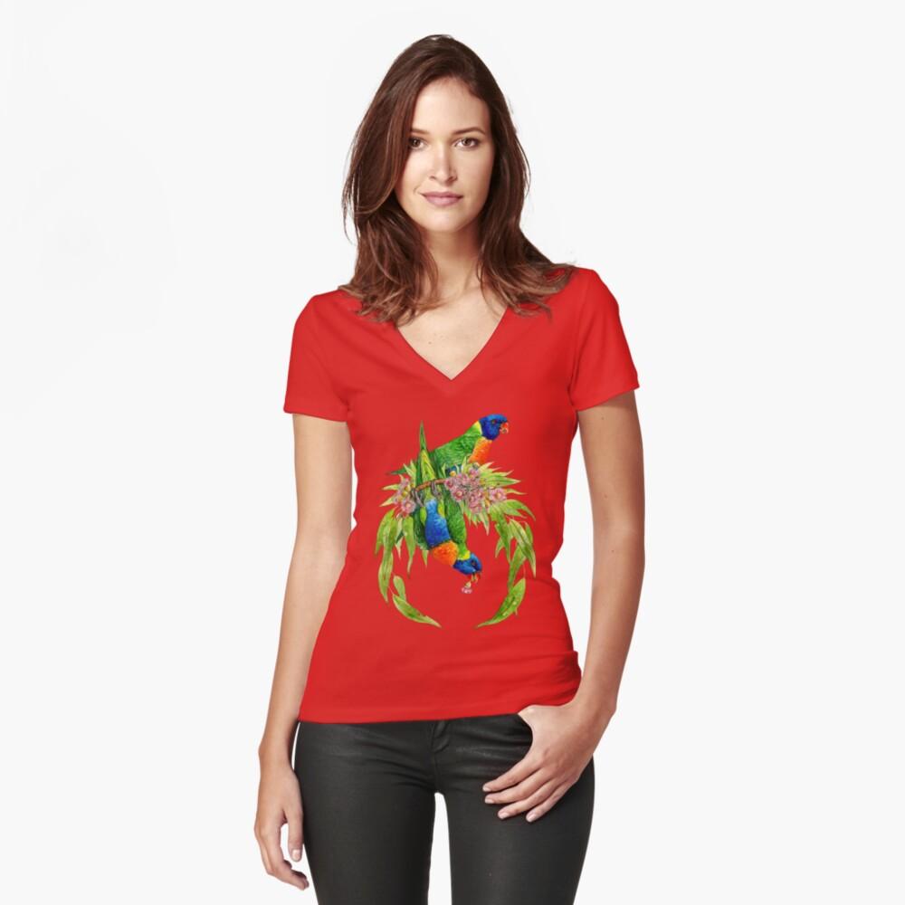 Regenbogen Lorikeets Tailliertes T-Shirt mit V-Ausschnitt
