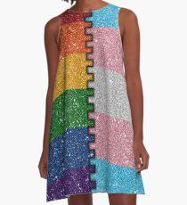 Rainbow Transgender Glitter Flag A-Line Dress