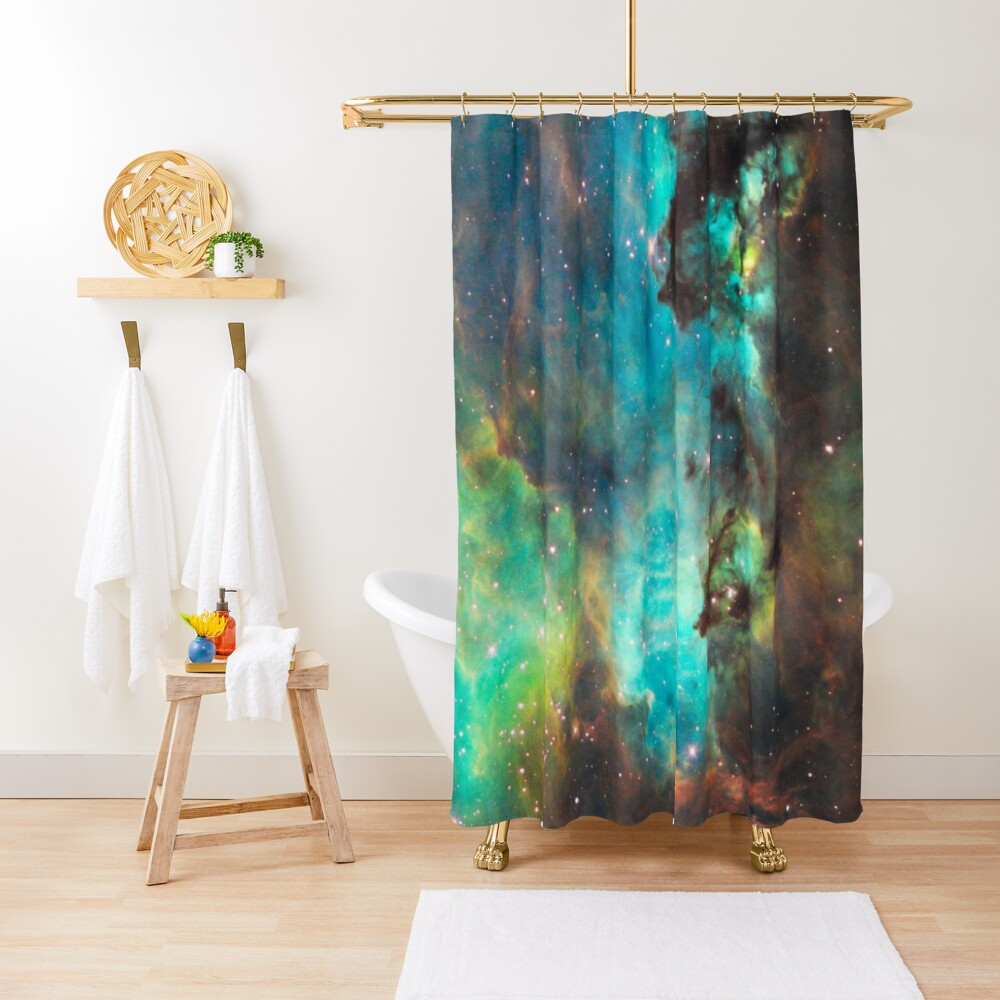 Green Galaxy Shower Curtain