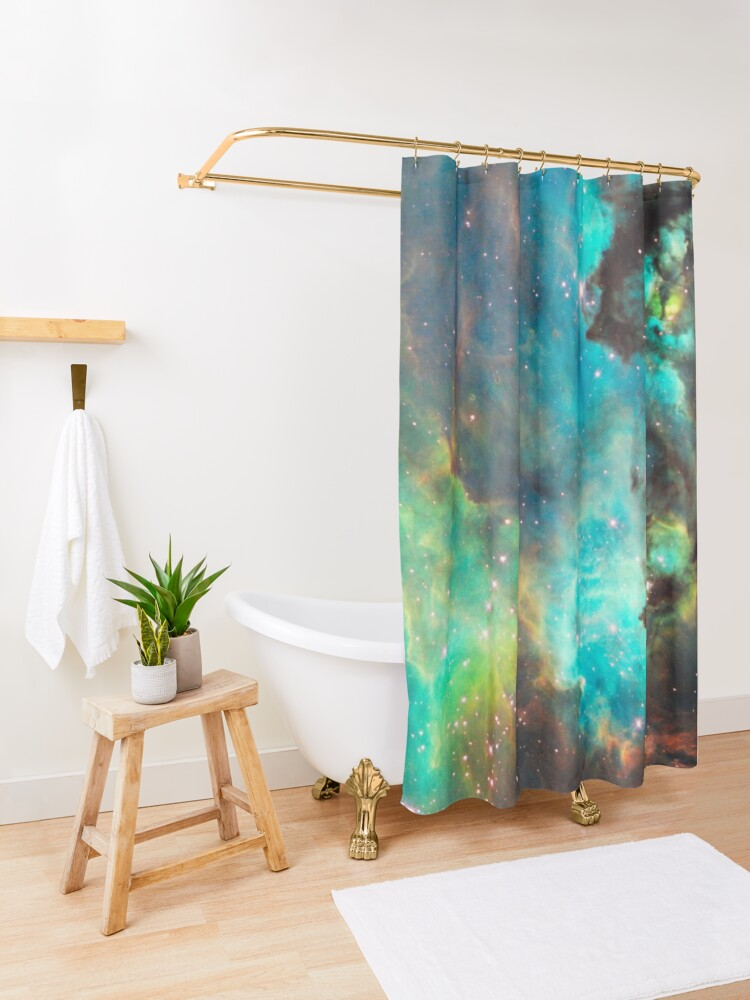 Alternate view of Green Galaxy Shower Curtain