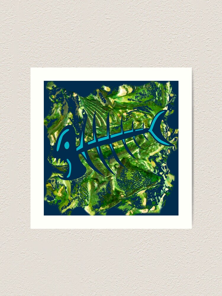 Alternate view of FISH SKELETON SWIRLING SEAS Art Print
