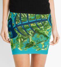 FISH SKELETON SWIRLING SEAS Mini Skirt
