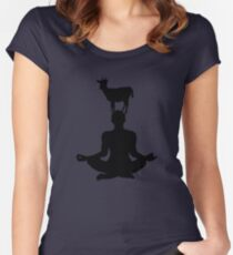 Cute Goat Doing Yoga Women's Fitted Scoop T-Shirt