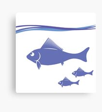 Blue silhouettes of fish isolated on white background Canvas Print