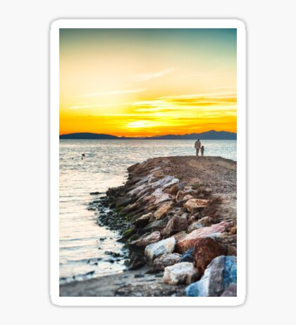 Sunset with dad Sticker