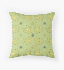 Flourishes & Flowers, yellow and green Throw Pillow
