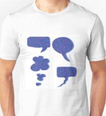 Set of Blue Mosaic Speech Bubbles Isolated on White Background Unisex T-Shirt
