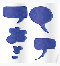 Set of Blue Mosaic Speech Bubbles Isolated on White Background Poster