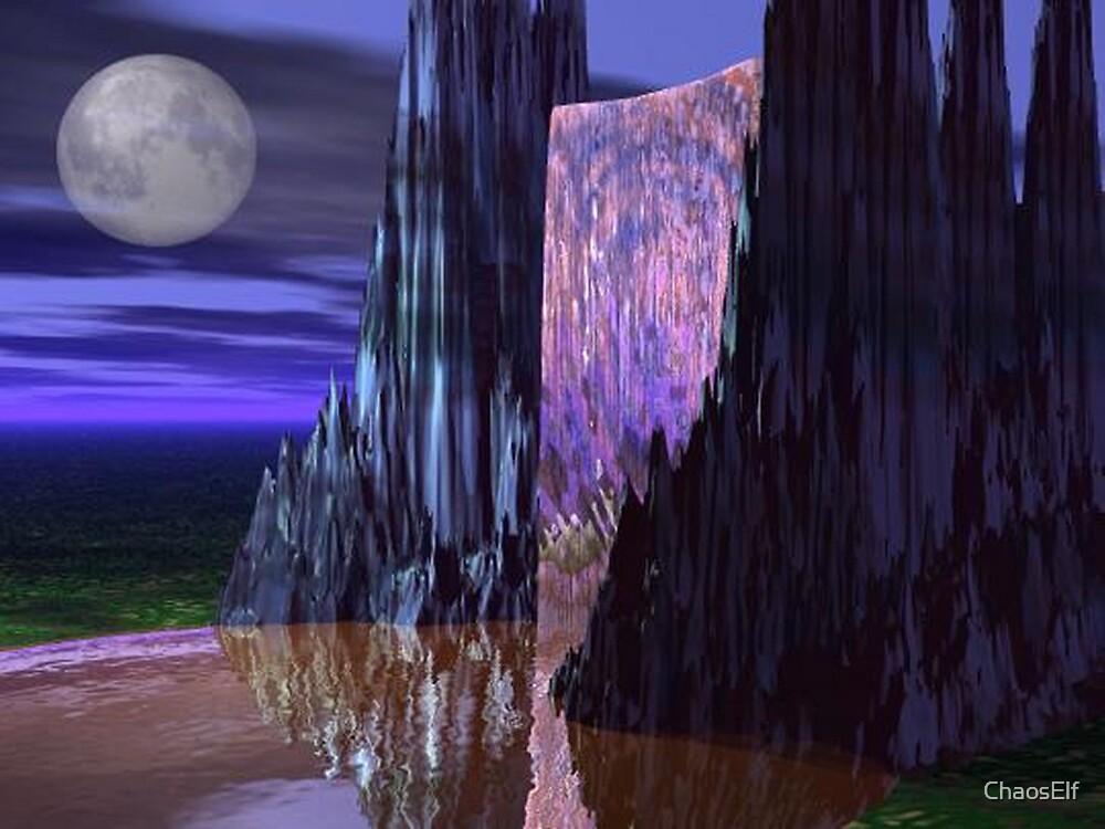 Moonlit Waterfall by ChaosElf