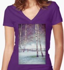 Two birches Women's Fitted V-Neck T-Shirt