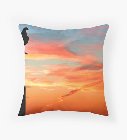 Perched Eagle at Sunset Throw Pillow