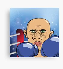 Head of Andry Boxer on Blue Blurred Background Canvas Print