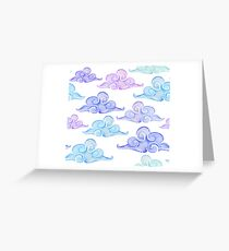 funny clouds watercolor Greeting Card