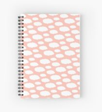 White Clouds on Pink Spiral Notebook