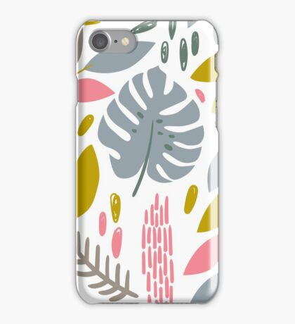 Beautiful tropical pattern with pink, gray and gold leaves. iPhone Case/Skin