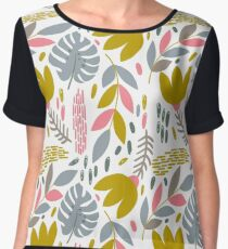Beautiful tropical pattern with pink, gray and gold leaves. Chiffon Top