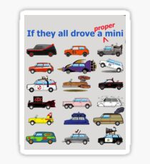 Film and TV cars as Mini -Grey Sticker