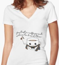 fantastic coffees - new version Women's Fitted V-Neck T-Shirt