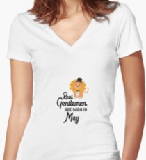 Real Gentlemen are born in May R63yp Women's Fitted V-Neck T-Shirt