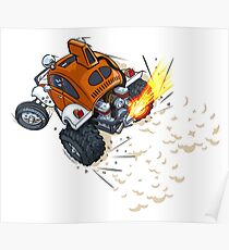 Baja Buggy, Orange and White Poster