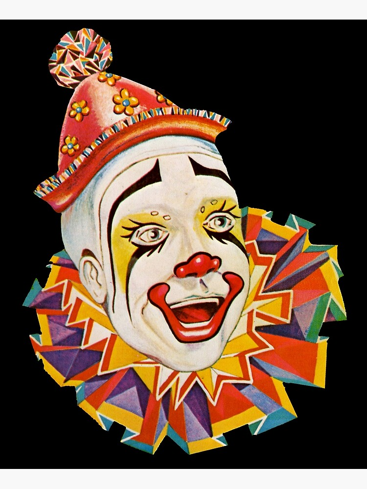 CLOWN, Scary, horror, CLOWN, Clown Head, Circus, Vintage, Advertising,  Poster, on Black.