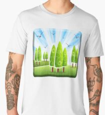 GARDEN LOVER, Paradise, Garden of Eden, Gardener, View, Landscape, Abstract, Trees, Lawn Men's Premium T-Shirt