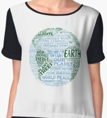 Protect Earth - Blue Green Words for Earth Women's Chiffon Top